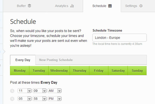 Schedule posts on BufferApp