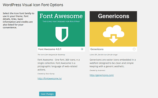 Choose an Icon Font to use with your WordPress theme