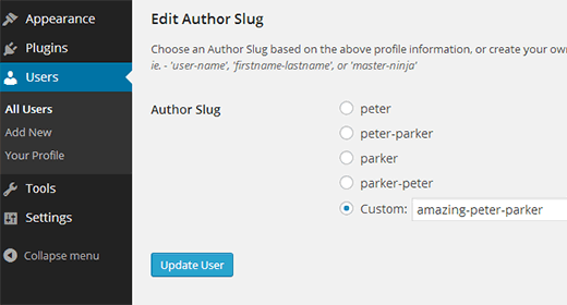 Changing the author URL slug