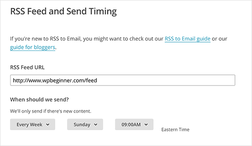 Enter your RSS feed URL and select email time and frequency