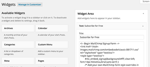 Adding signup form code in widgets