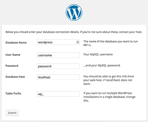 WordPress creating wp-config.php file during the installation