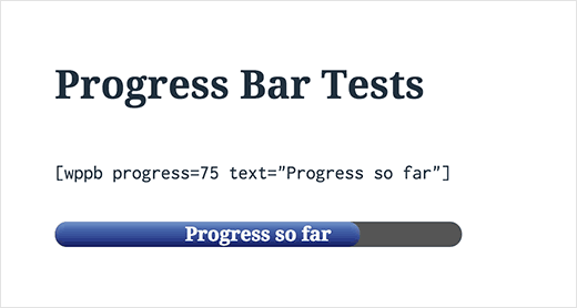 Progress bar in WordPress with text on top of it