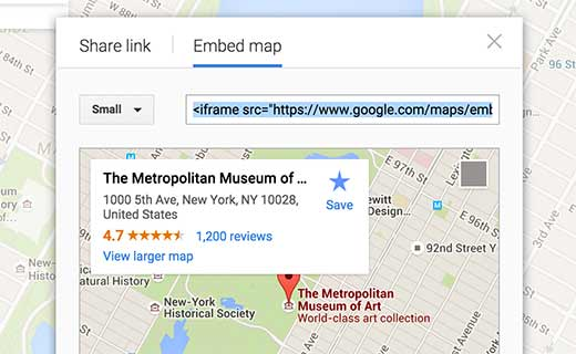 Manually embed a Google Map