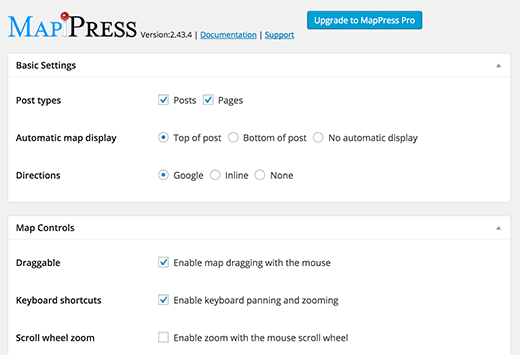 MapPress settings page