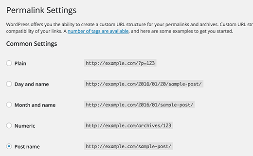 Permalink settings in WordPress