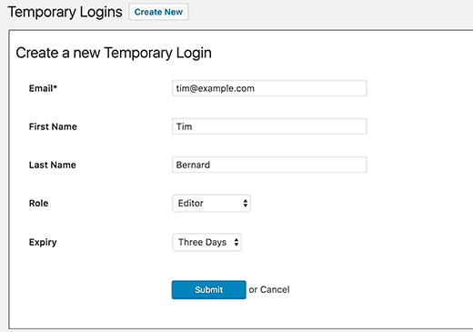 Adding a new temporary account in WordPress