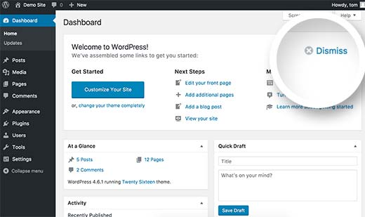 Dismiss welcome panel in WordPress dashboard