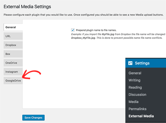 External Media plugin settings