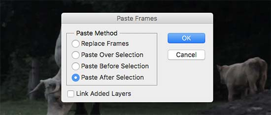 Paste after selection