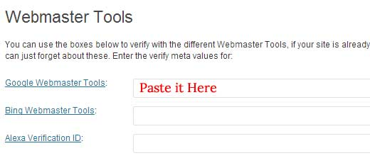 WordPress SEO Webmaster Tools