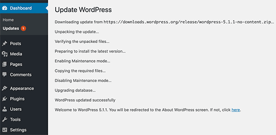 WordPress update progress