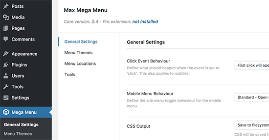 Mega Menu settings