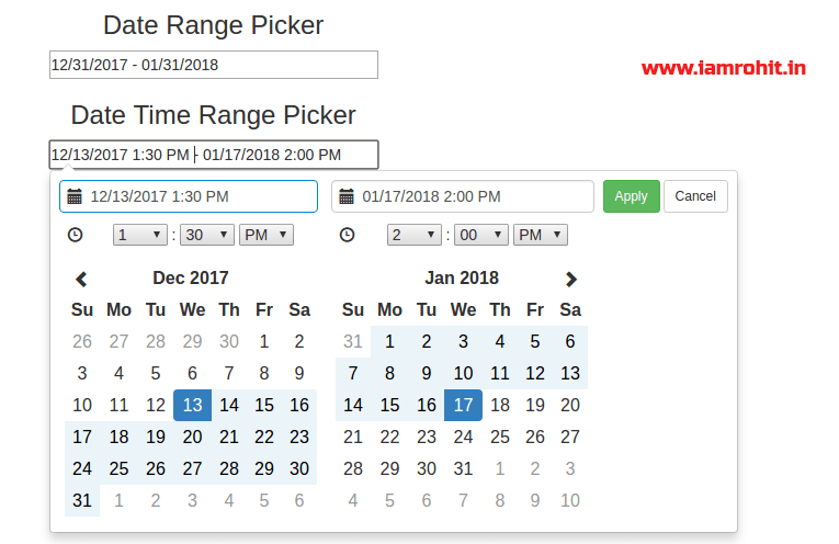 Bootstrap Date Time Range Picker jQuery Plugin – daterangepicker js