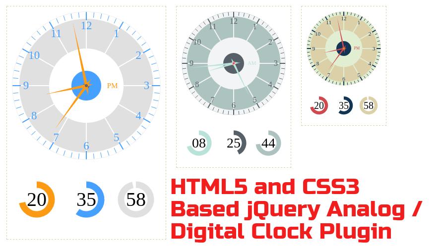 HTML5 and CSS3 Based jQuery Analog / Digital Clock Plugin
