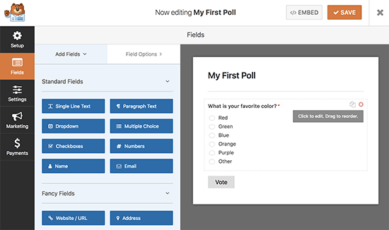 Editing your poll form