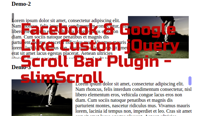 Facebook & Google Like Custom jQuery Scroll Bar Plugin