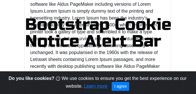 Bootstrap Cookie Notice AlertBar