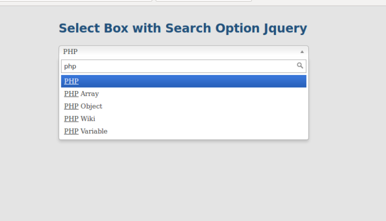 select box with searching support using jQuery