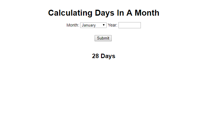 calculate days in a month