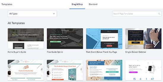 Choose a template for your landing page