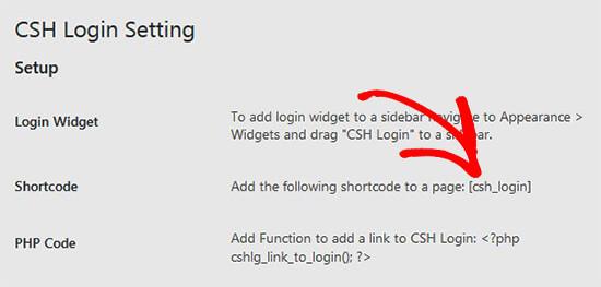 Copy shortcode for CSH login plugin