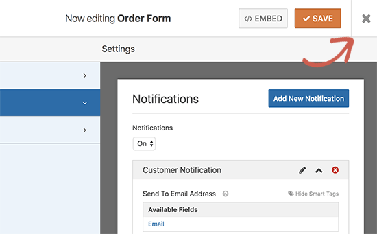 Save and exit form builder