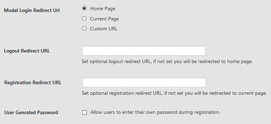 Redirect login type