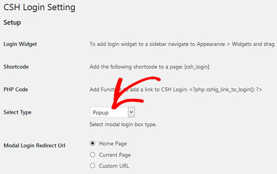 Select modal login type