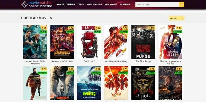 most popular online movie sites