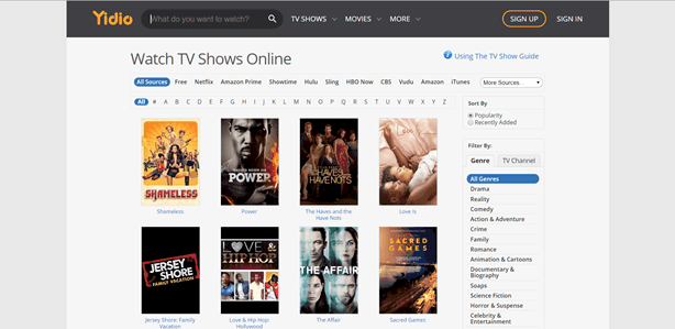 yidio watch tv shows online for free
