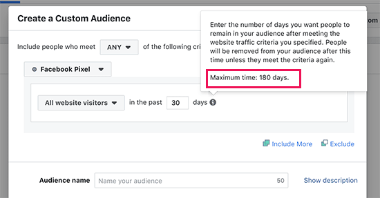 Facebook custom audience retargeting