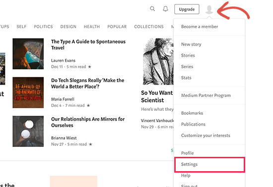 Go to Medium settings page