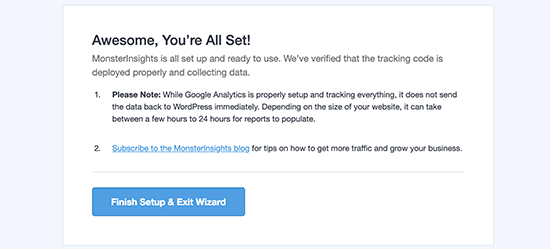 Google Analytics successfully installed using MonsterInsights