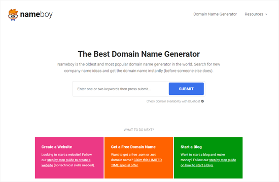 Nameboy Best Domain and Blog Name Generator