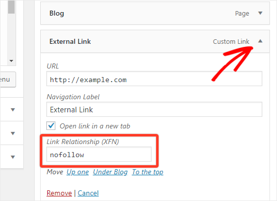 Add nofollow to Link Relationship XFN option