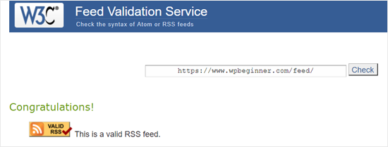 RSS Feed Validation Service