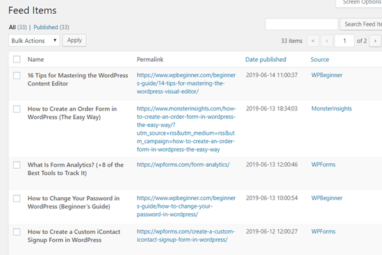WP RSS Aggregator Feed Items in WordPress Dashboard