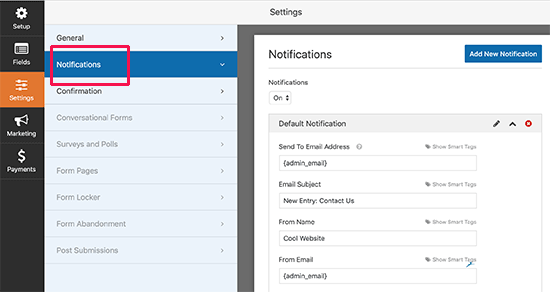 Form notification email settings