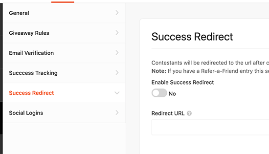 Redirect users upon success