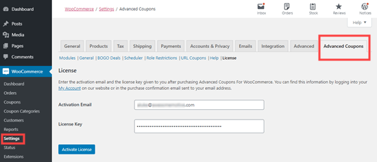Activate the advanced coupons plugin by entering the license key