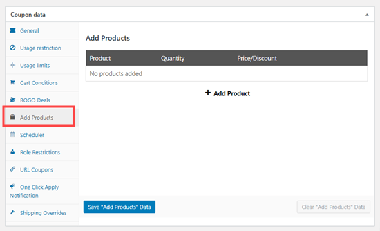 Click on the 'Add Products' tab