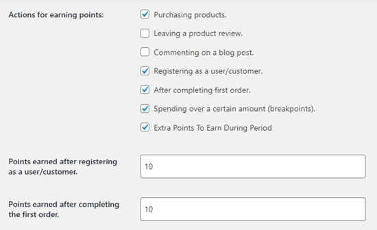 Setting what actions are rewarded with points in your loyalty program