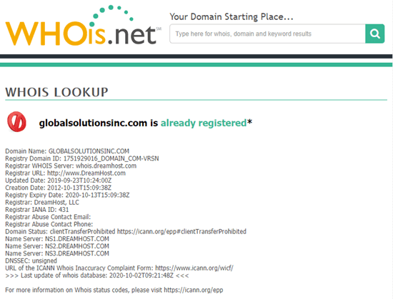 Looking up website details on whois.net