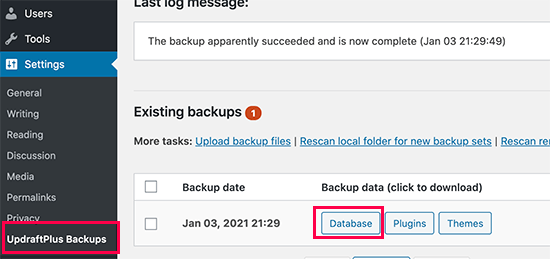 Download WordPress database backup