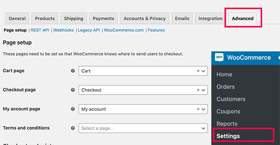 Select WooCommerce default pages
