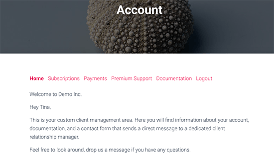 Client specific message on the account page