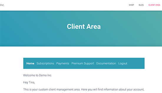 Example of a client area created in WordPress