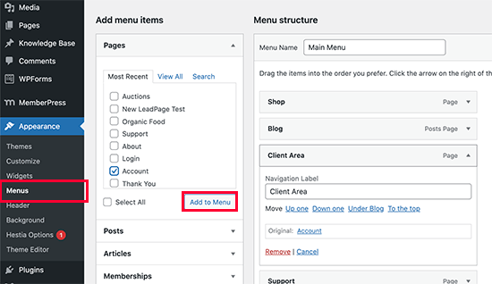 Adding the client area link to your navigation menu