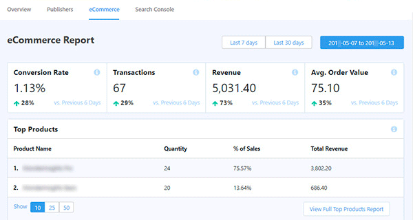 WooCommerce conversion report in MonsterInsights